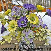 Цветы и флористика ручной работы. Ярмарка Мастеров - ручная работа Букет в фиолетово-желтой гамме. Handmade.