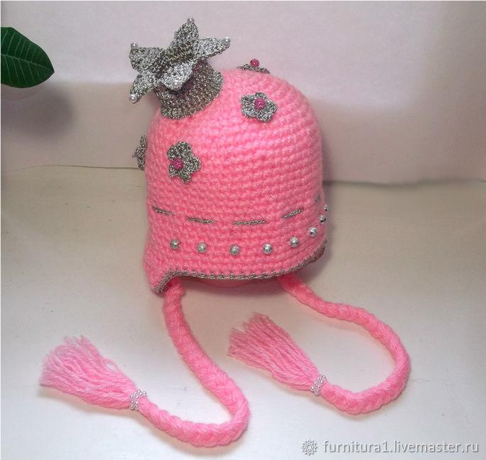 Одежда шапка принцесса с короной теплая вязаная зимняя розовая, Одежда, Москва,  Фото №1