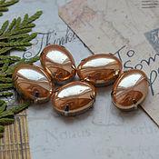 Материалы для творчества handmade. Livemaster - original item Pearl rhinestones Gold 13h18 mm oval. Handmade.