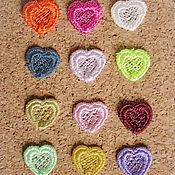Аппликации ручной работы. Ярмарка Мастеров - ручная работа Вышивка аппликация Мелкие сердечки малютки кружевная вышивка. Handmade.