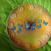 """Часы классические ручной работы. Ярмарка Мастеров - ручная работа Часы из белой глины """"Весна"""". Handmade."""