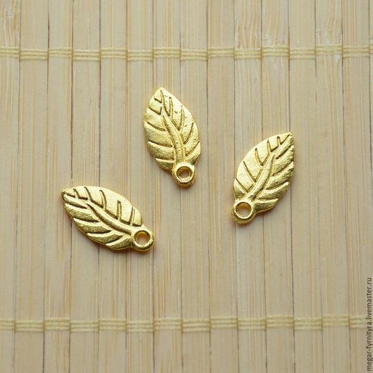 Для украшений ручной работы. Ярмарка Мастеров - ручная работа. Купить Подвеска лист под Золото 19х10 мм. Handmade.