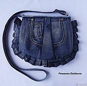 """Сумка через плечо ручной работы. Ярмарка Мастеров - ручная работа Сумка джинсовая женская """"Горошек"""" маленькая синяя через плечо. Handmade."""