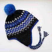 Аксессуары handmade. Livemaster - original item Nordic Ski Hat Woolen earflaps on fleece with pompom for snowboard. Handmade.