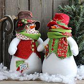 Подарки к праздникам ручной работы. Ярмарка Мастеров - ручная работа Снеговик новогодний.. Игрушка интерьерная. Handmade.
