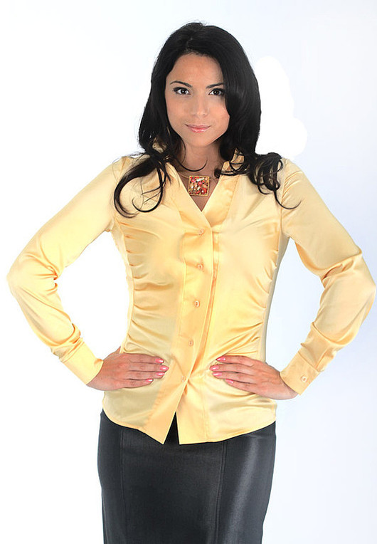 Blouses handmade. Livemaster - handmade. Buy Blouse with pintucks - Pastel yellow.Yellow, silk blouse, elastane