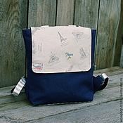 Сумки и аксессуары ручной работы. Ярмарка Мастеров - ручная работа Городской рюкзак из льна. Handmade.