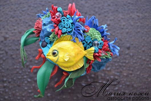 """Браслеты ручной работы. Ярмарка Мастеров - ручная работа. Купить Браслет из кожи """"Коралловый риф"""". Handmade. Комбинированный, тропики"""