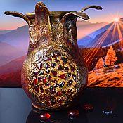 Для дома и интерьера ручной работы. Ярмарка Мастеров - ручная работа Крынка глиняная, Гранат арт , Ваза для сухоцветов. Handmade.