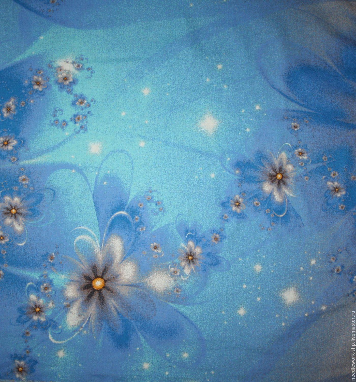 Шитье ручной работы.Ярмарка Мастеров- ручная работа. Купить Отрез ткани Синий, цветы, хлопок, бязь 38х40 см. Ткани для творчества.Handmade.