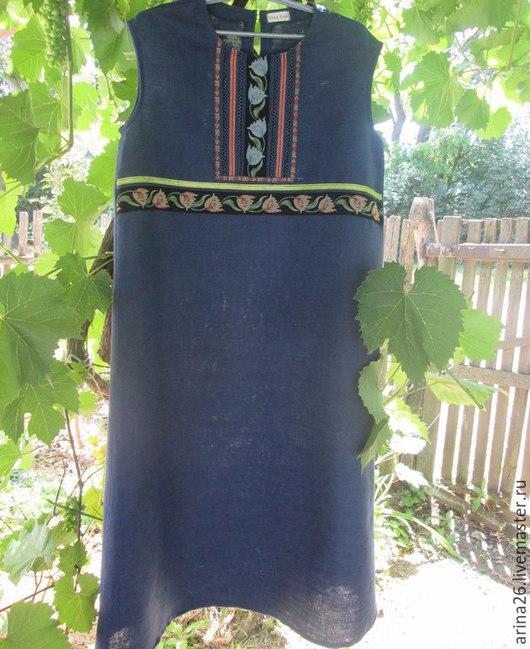 Платья ручной работы. Ярмарка Мастеров - ручная работа. Купить Сарафан женский из натурального льна Лада.. Handmade. Тёмно-синий
