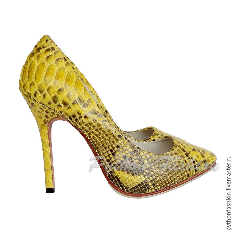 Shoes from Python. Bright beautiful high-heeled shoes. Fashion women shoes from Python. Beautiful pumps from Python. Designer shoes from Python handmade. Women's light Python shoes