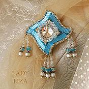Украшения handmade. Livemaster - original item Brooch pendant Sky. Blue pendant. Brooch beads. A beaded brooch. Handmade.