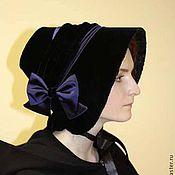 Аксессуары handmade. Livemaster - original item Velvet bonnet Historical reenactment Exclusive. Handmade.