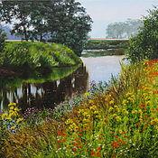 Картины и панно ручной работы. Ярмарка Мастеров - ручная работа Картина маслом. Летний пейзаж с цветущими травами. Handmade.