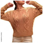 Одежда handmade. Livemaster - original item Sweater women`s Diamonds, knitted, braids, beige, Merino wool. Handmade.