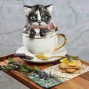 handmade. Livemaster - original item Infuser porcelain Cup with saucer