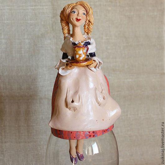 Колокольчики ручной работы. Ярмарка Мастеров - ручная работа. Купить Девушка с кофейником. Handmade. Розовый, кофейник, глазури
