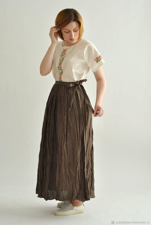 Skirt linen brown Peasant, Skirts, Novosibirsk,  Фото №1