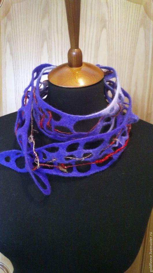 Шарфы и шарфики ручной работы. Ярмарка Мастеров - ручная работа. Купить Фиолетово-синий валяный шарфик-украшение. Handmade. Комбинированный