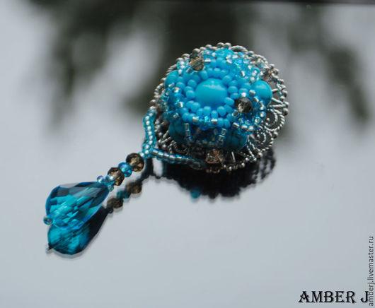 """Броши ручной работы. Ярмарка Мастеров - ручная работа. Купить Брошь """"Сristallium"""". Handmade. Голубой, брошь, брошь голубая"""