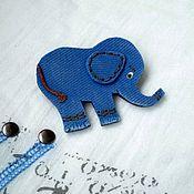 """Украшения ручной работы. Ярмарка Мастеров - ручная работа Брошь """"Еlephant"""", имитация джинсы. Handmade."""