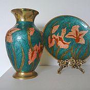 Vintage interior handmade. Livemaster - original item Vintage brass vase and wall plate.India.England.. Handmade.