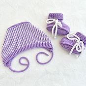 Одежда детская handmade. Livemaster - original item Set for newborn girl. Booties and cap. Merino 100%. Handmade.