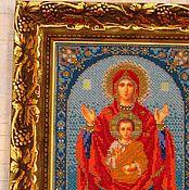 """Картины и панно ручной работы. Ярмарка Мастеров - ручная работа Икона из бисера """"Богородица Знамение"""". Handmade."""