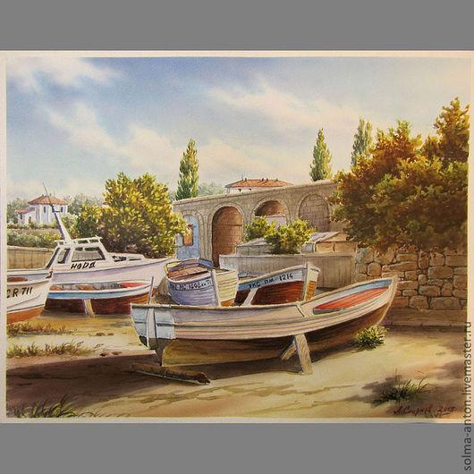 """Пейзаж ручной работы. Ярмарка Мастеров - ручная работа. Купить Акварель """"Лодки"""". Handmade. Акварель, пейзаж, солнечный день, интерьер"""