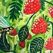 Картины ручной работы. Ярмарка Мастеров - ручная работа Картина гуашью Спелая малина. Handmade.