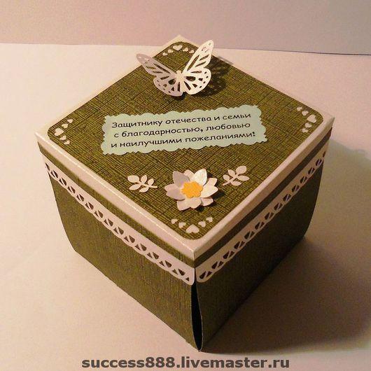 Открытки для мужчин, ручной работы. Ярмарка Мастеров - ручная работа. Купить Открытка-коробочка на 23 февраля. Handmade. подарок мужчине