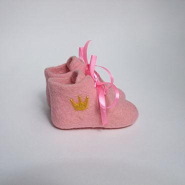 """Обувь ручной работы. Ярмарка Мастеров - ручная работа Пинетки валяные """"Для принцесски"""". Handmade."""