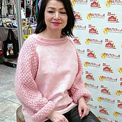 Одежда handmade. Livemaster - original item Pink felted sweater with knitted sleeves.. Handmade.