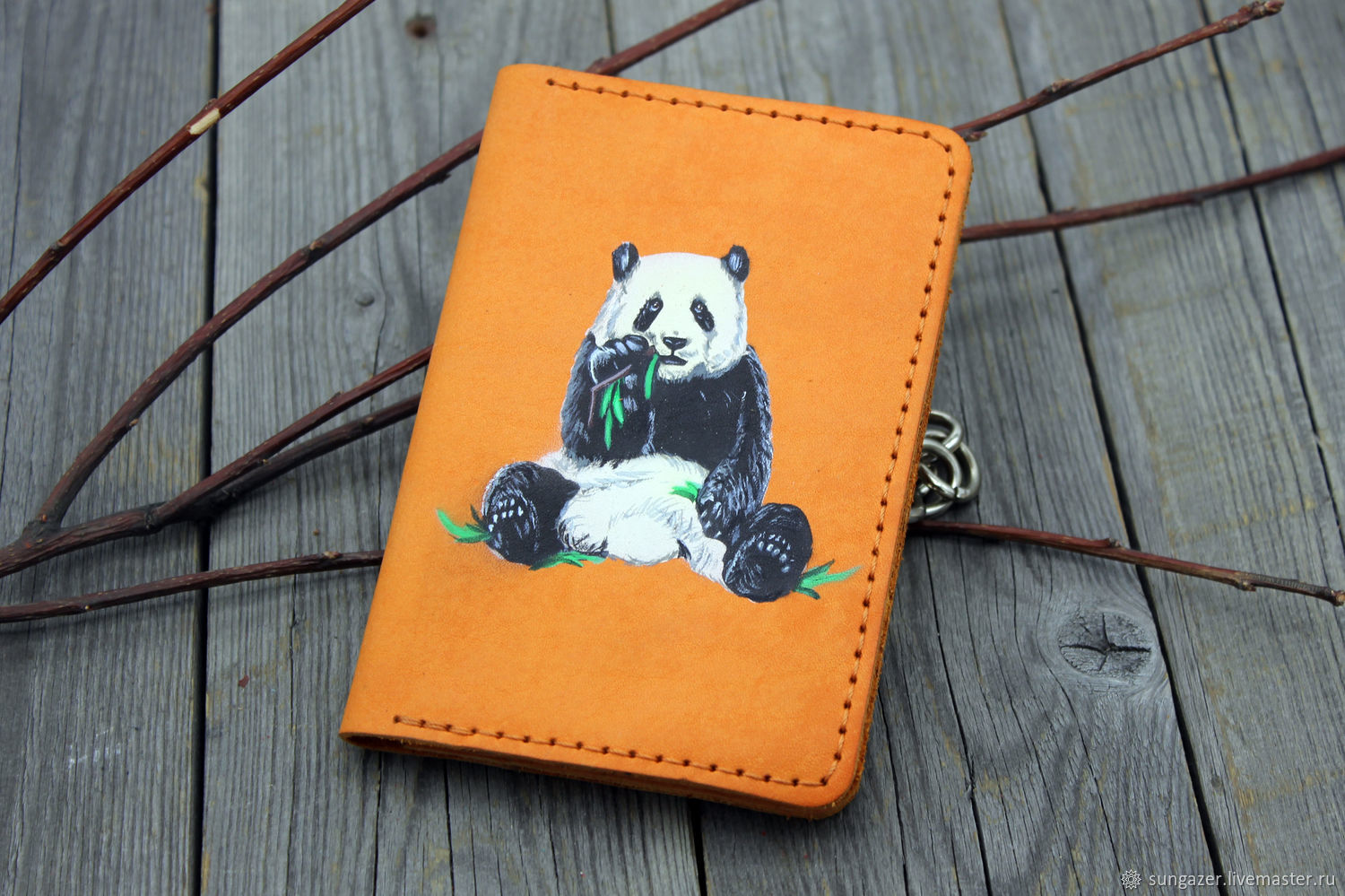 Leather passport cover with a Chewing panda pattern, Passport cover, Murmansk,  Фото №1