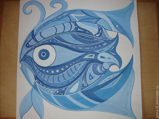 """Животные ручной работы. Ярмарка Мастеров - ручная работа. Купить Декоративное панно """"Рыбка"""". Handmade. Картина, гуашь, рыба, картон"""