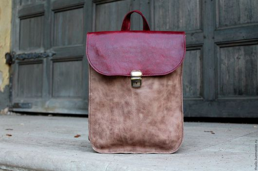 Рюкзаки ручной работы. Ярмарка Мастеров - ручная работа. Купить Рюкзак арт.299/винтажный+бордо. Handmade. Разноцветный, состаренный, рюкзак из кожи
