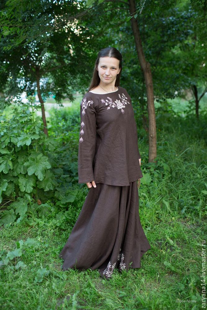 Блузки ручной работы. Ярмарка Мастеров - ручная работа. Купить Блузка коричневая с бежевой вышивкой. Handmade. Блузка, блузка на лето