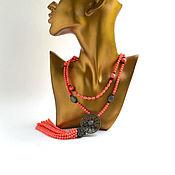 Украшения handmade. Livemaster - original item Necklace Sotuar pink coral BLACK SUN author`s work. Handmade.