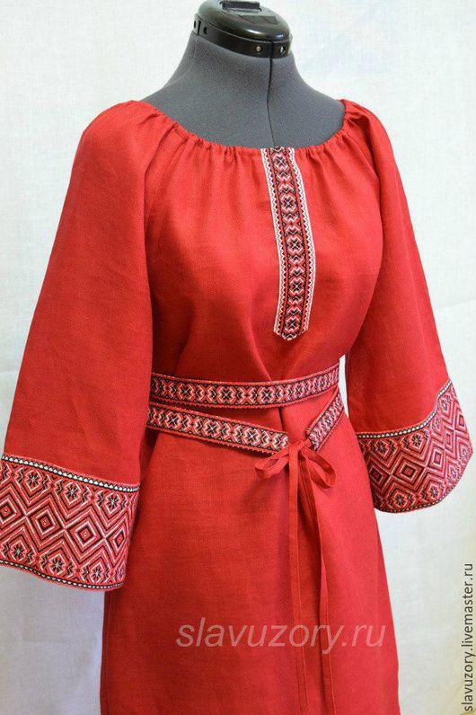 Одежда ручной работы. Ярмарка Мастеров - ручная работа. Купить Платье из красного льна с Мирославой. Handmade. Ярко-красный