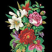 Схемы для вышивки ручной работы. Ярмарка Мастеров - ручная работа Схемы для вышивки: Букет с маком,лилией и камелией. Handmade.