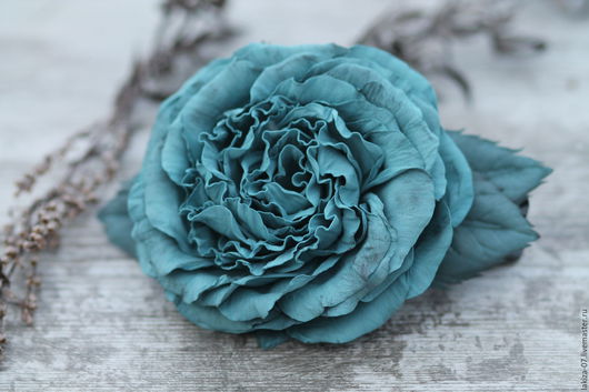 Заколки ручной работы. Ярмарка Мастеров - ручная работа. Купить Зажим Роза из фоамирана ручной работы. Handmade. Бирюзовый