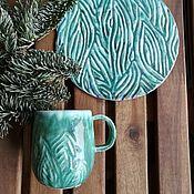 Тарелки ручной работы. Ярмарка Мастеров - ручная работа Чайная пара с растительным узором. Handmade.