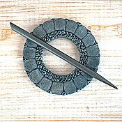 Брошь-фибула ручной работы. Ярмарка Мастеров - ручная работа Заколка-Фибула для шали Ночной цветок (для вязаных изделий). Handmade.