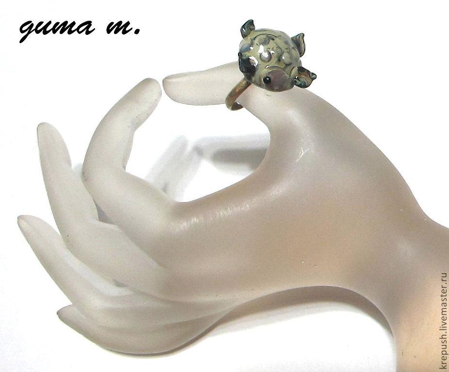 """Колье, бусы ручной работы. Ярмарка Мастеров - ручная работа. Купить Кольцо ручной работы в технике  lampwork """"Черепашка"""". Handmade."""