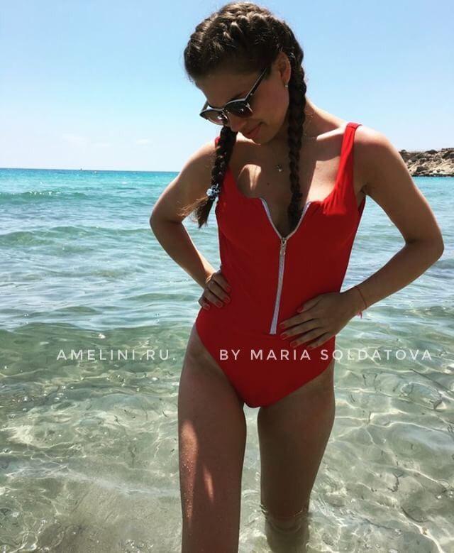 2803d434e931 Слитный красный купальник на молнии Malibu – купить в интернет-магазине на  Ярмарке ...