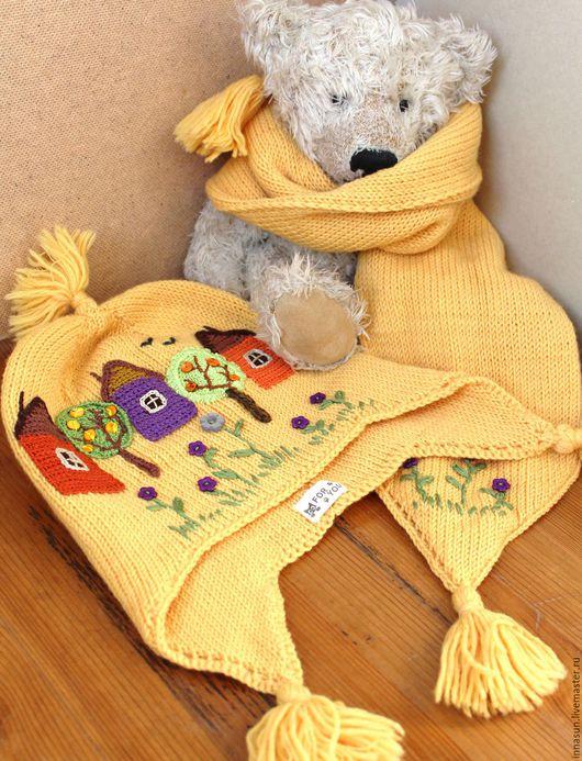 Шапки и шарфы ручной работы. Ярмарка Мастеров - ручная работа. Купить Шапка и шарф Деревня Солнечная. Handmade. Желтый, домики