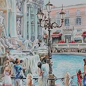 """Картины и панно ручной работы. Ярмарка Мастеров - ручная работа акварель """"Римские каникулы.У фонтана."""". Handmade."""