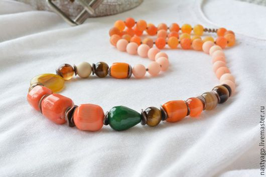 бусы , разноцветные бусы , длинные бусы , крупные бусы ,подарок девушке , яркое украшение , бижутерия , натуральные камни