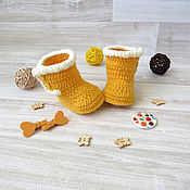 Работы для детей, handmade. Livemaster - original item booties, knitted boots for girls knitted ugg boots booties yellow. Handmade.